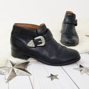 Ariat ankle boots black concho buckle strap size 8